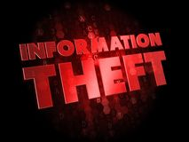 Information Theft on Dark Digital Background. Stock Image