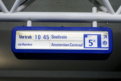 Information about train to Amsterdam Royalty Free Stock Images