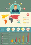 Information User Flat Pattern Infographics, With Statistical Dat. A, Pie Charts Royalty Free Stock Photography