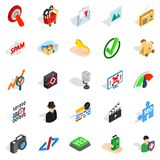 Information war icons set, isometric style. Information war icons set. Isometric set of 25 information war vector icons for web  on white background Stock Photography