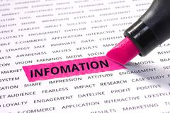 Information word highlighted with marker royalty free stock photography