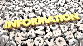 Information Word Letters Research Find Answers. 3d Animation Royalty Free Stock Photo