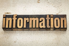 Information word in wood type Stock Images