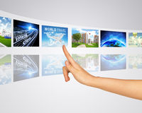 Information in world. Finger presses one of Stock Image