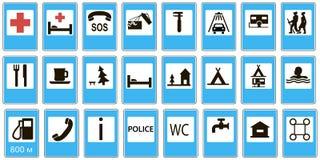 Informational droga setu znaków usługa Zdjęcie Stock