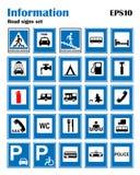 Informational drogowi błękitni symbole ustawiający Wektorowa ilustracja odizolowywająca na bielu obowiązkowe znaki Przygotowywają ilustracji