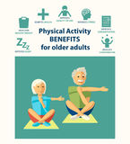 Informational poster template for senior. Physical activity benefits for older adults. royalty free illustration