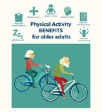 Informational poster template for senior. Physical activity benefits for older adults. Important of physical activities for elderly people. Biking Royalty Free Stock Photo