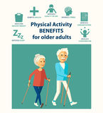 Informational poster template for senior. Physical activity benefits for older adults. Important of physical activities for elderly people. Nordic walking Stock Photography