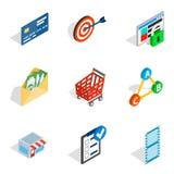 Informational progress icons set, isometric style. Informational progress icons set. Isometric set of 9 informational progress vector icons for web isolated on Stock Photos
