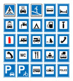 Informational road blue symbols set. Vector illustration isolated on white. Mandatory signs. Ready to use traffic banner Stock Photography