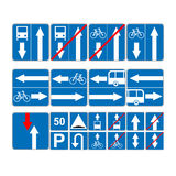 Informational road blue symbols set. Vector illustration isolated on white. Mandatory signs. Ready to use traffic banner Royalty Free Stock Photo