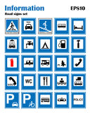 Informational road blue symbols set. Vector illustration isolated on white. Mandatory signs. Ready to use traffic banner Royalty Free Stock Photos