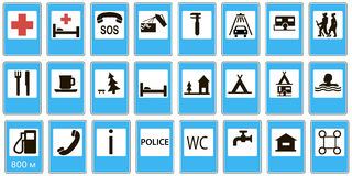Informational road set signs service Stock Photo