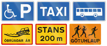 Informational Road Signs In Iceland Royalty Free Stock Images