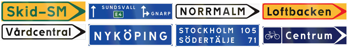 Free Informational Road Signs Used In Sweden Royalty Free Stock Photography - 64671097