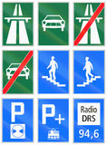 Informational road signs used in Switzerland Stock Images