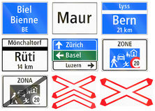 Informational road signs used in Switzerland Stock Image