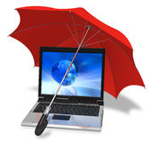 Informational security concept. Modern laptop covered by red umbrella on white background Stock Photos