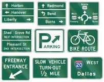 Informational United States MUTCD road signs. Collection of Informational United States MUTCD road signs Stock Photos