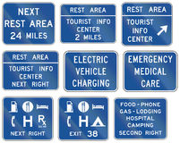 Informational United States MUTCD road signs. Collection of Informational United States MUTCD road signs Stock Photography