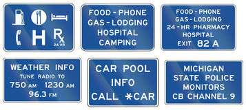 Informational United States MUTCD road signs. Collection of Informational United States MUTCD road signs Royalty Free Stock Photo