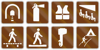 Informational United States MUTCD road signs. Collection of Informational United States MUTCD road signs Stock Photo