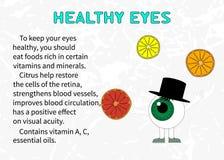 Informationen über den Nutzen der Zitrusfrucht für Sehvermögen Stockbild