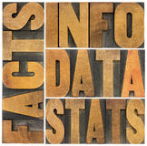 Informationen, Daten, Tatsachen, Statistikwörter Stockfoto
