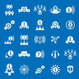 Informationen, die den Sammeln und Austauschthemaikonensatz, analysieren Stockfotografie