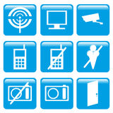 Informations icon. Glossy color blue information square icons Royalty Free Stock Images