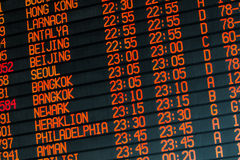 Informations about international flights on timetable Royalty Free Stock Images