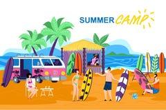 Informations-Plakat-Aufschrift-Sommer-Lager-Karikatur vektor abbildung