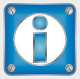 Informations sign 3d. White and blue sign at door Royalty Free Stock Images