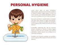 Informationsaffisch om personlig hygien med pojken i pyjamas royaltyfri illustrationer