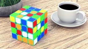 Informationsanzeige Fahnen-Stände in Ihrem Entwurf Tasse Kaffee auf einer hölzernen Tabelle Wiedergabe 3d lizenzfreie abbildung