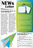 Informationsblad- eller websitemalldesign royaltyfri illustrationer