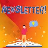 Informationsblad för textteckenvisning Begreppsmässig fotoinformation som överförs periodvis till medlemmar av gruppen stock illustrationer
