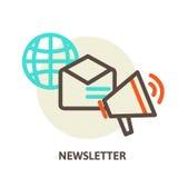 Informationsblad för begrepp för vektoremailmarknadsföring och Royaltyfria Foton