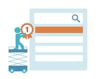 Informationsdiagram BÄSTA sökande befordranwebbplats Arkivbild