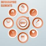 Informationsdiagram om affär från cirklar med pekaren Royaltyfri Bild