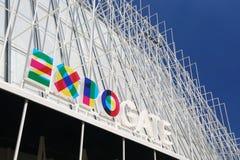 Informationsgebäude für Ausstellung 2015 in Mailand Stockfotografie