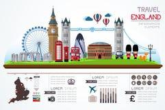 Informationsgraphiken Reise und Markstein England Stockfotos