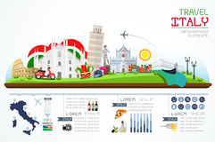 Informationsgraphiken Reise und Markstein Italien Lizenzfreie Stockbilder