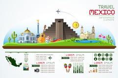 Informationsgraphiken reisen und Marksteinmexiko-Schablonendesign Stockfotografie