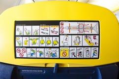 De veiligheidsinformations van het vliegtuig Royalty-vrije Stock Foto's