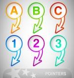 Informationspekare med nummer och bokstäver Arkivfoto
