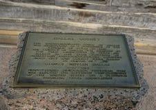 Informationsplakette, John Neely Bryan-` s Blockhaus, Dallas, Texas stockbild