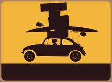 Informationsplatta med en kontur av bilen med bagaget. vektor illustrationer