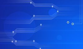 Informationstechnologie-Elektronik-Datenfluss-Stromkreis-Zusammenfassungs-Hintergrund auf Blau vektor abbildung
